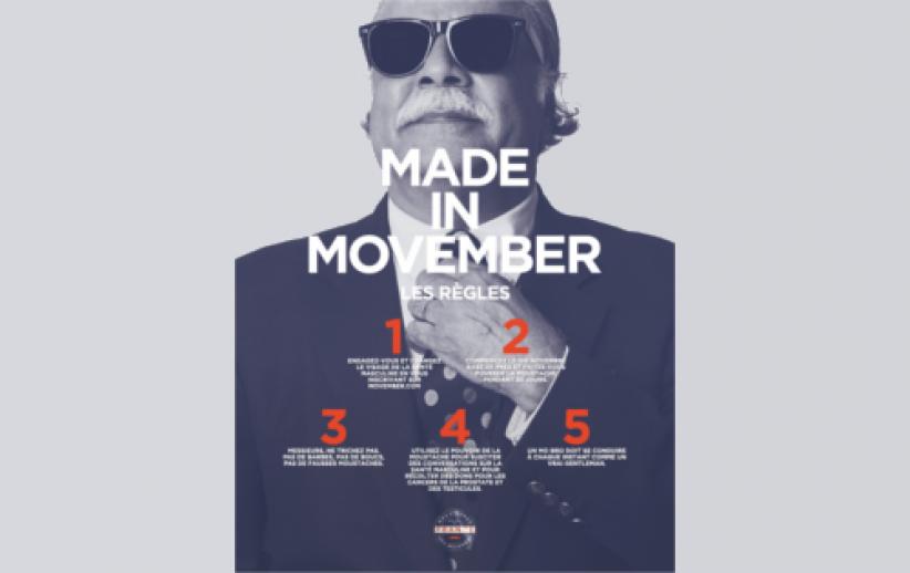 Movember est un événement annuel organisé par la fondation australienne Movember Fondation Charity.