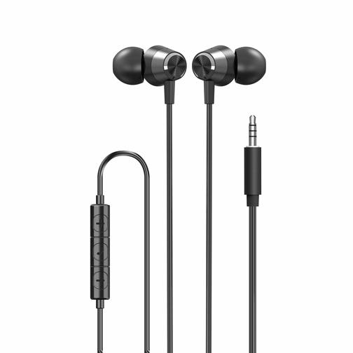 Écouteurs Stéréo intra-auriculaires Filaires avec Jack 3.5 mm Noirs