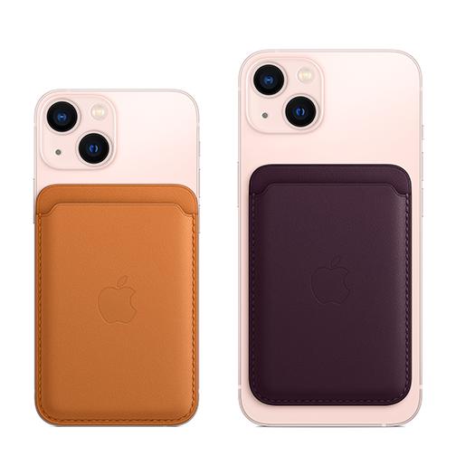 Porte-cartes en cuir avec MagSafe pour iPhone - Marron