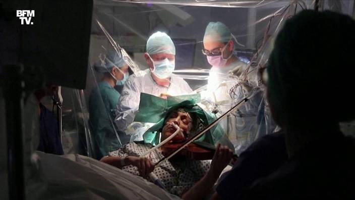 Elle joue du violon pendant son opération du