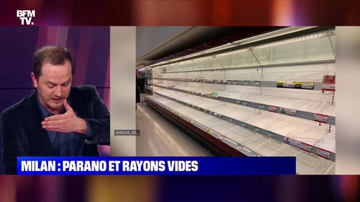 Milan: des rayons de supermarchés vides avec