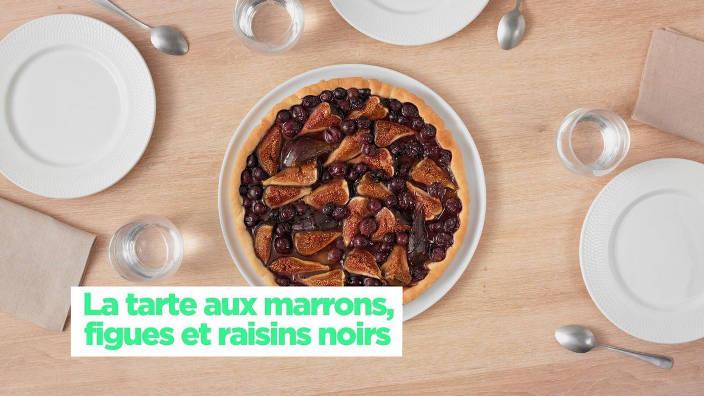 La tarte aux marrons, figues et raisins noirs