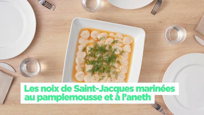 Les noix de Saint-Jacques marinées au...