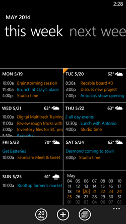 calendrier windows phone 8.1